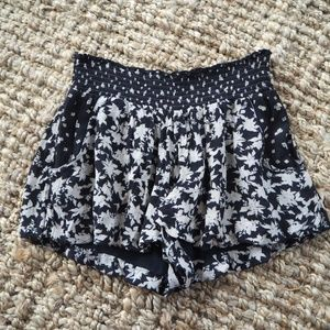 Free People Black and Tan Patterned Shorts